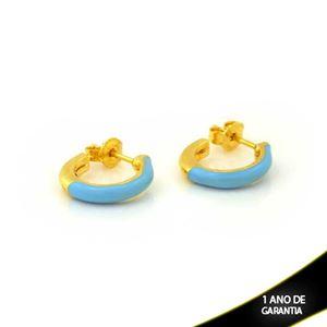 Imagem de Brinco de Argola Lisa com Resina Azul 2,5mm 1,4cm - 0212300