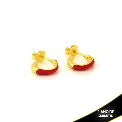 Imagem de Brinco de Argola Pequena Lisa com Resina Vermelha 2mm 1,1cm - 0212299