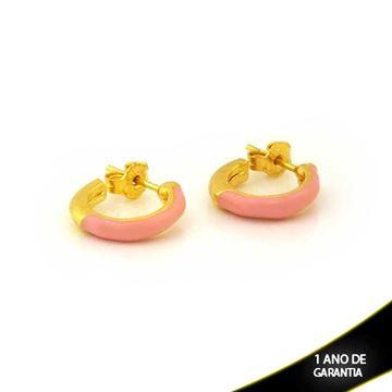 Imagem de Brinco de Argola Lisa com Resina Rosa 2,5mm 1,4cm - 0212300