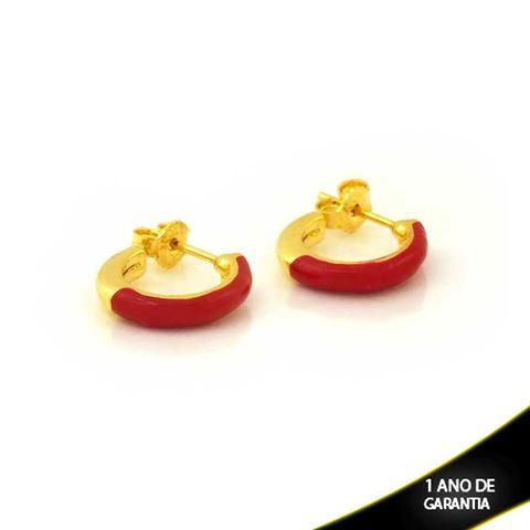 Imagem de Brinco de Argola Lisa com Resina Vermelha 2,5mm 1,4cm - 0212300