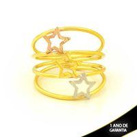 Imagem de Anel com Três Estrelas em Aplique de Ródio Rosê - 0104977