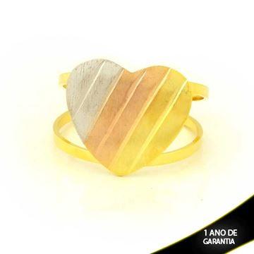 Imagem de Anel com Coração Fosco Diamantado em Aplique de Ródio Rosê - 0104976