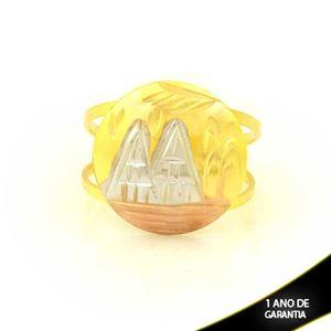 Imagem de Anel com Escravo Fosco Diamantado em Aplique de Ródio Rosê - 0104917