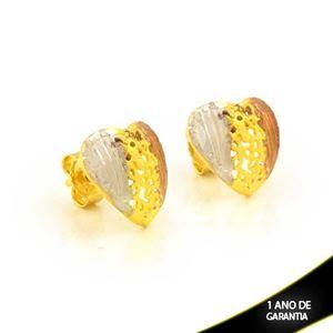 Imagem de Brinco de Coração Diamantado com Aplique de Ródio Rosê - 0212295