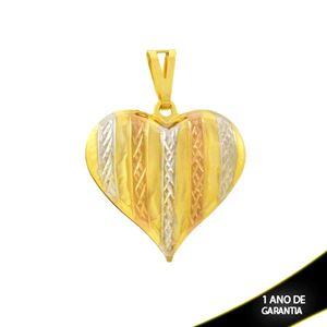 Imagem de Pingente de Coração Grande Duplo Diamantado com Aplique de Ródio Rosê - 0304657