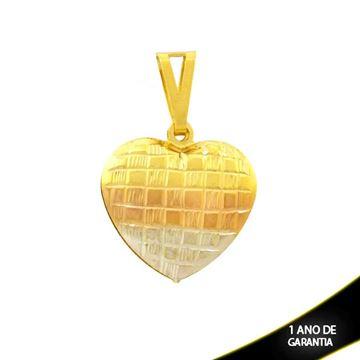 Imagem de Pingente de Coração Grande Duplo Diamantado com Aplique de Ródio Rosê - 0304665