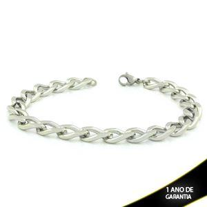 Imagem de Pulseira Aço Inox Masculina Grossa Diamantada 9mm 20cm - 0503947