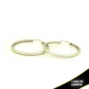 Imagem de Brinco Aço Inox Argola de Tubo Lisa 2mm 3,3cm - 0212035