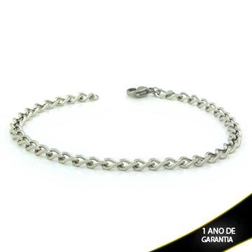 Imagem de Pulseira Aço Inox Masculina Diamantada 5mm 20cm - 0503944