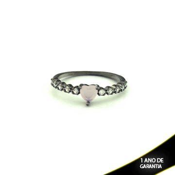 Imagem de Anel Banho Negro com Zircônias e Pedra Natural Coração Rosa - 0104479