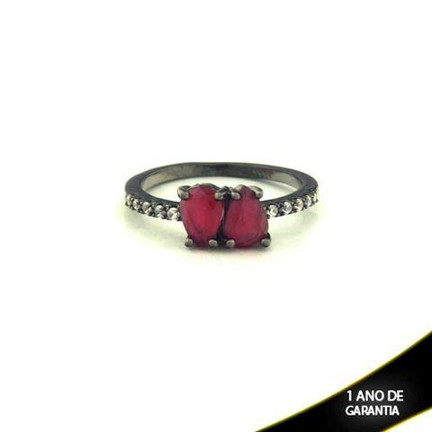 Imagem de Anel Banho Negro com Zircônias e Duas Pedras Naturais em Gota Vermelho - 0104477