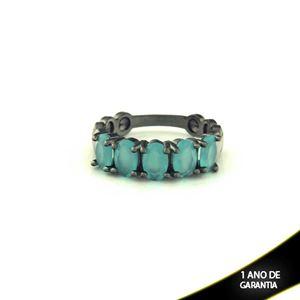 Imagem de Anel Banho Negro com Pedras Naturais Azul Claro - 0104488