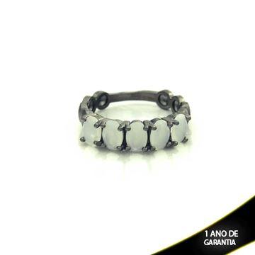 Imagem de Anel Banho Negro com Pedras Naturais Brancas - 0104488