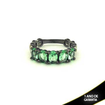 Imagem de Anel Banho Negro com Pedras Naturais Verde Claro - 0104488