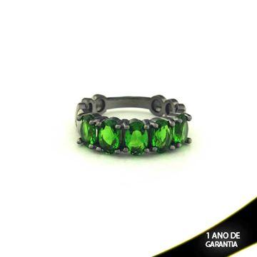 Imagem de Anel Banho Negro com Pedras Naturais Verde Escuro - 0104488
