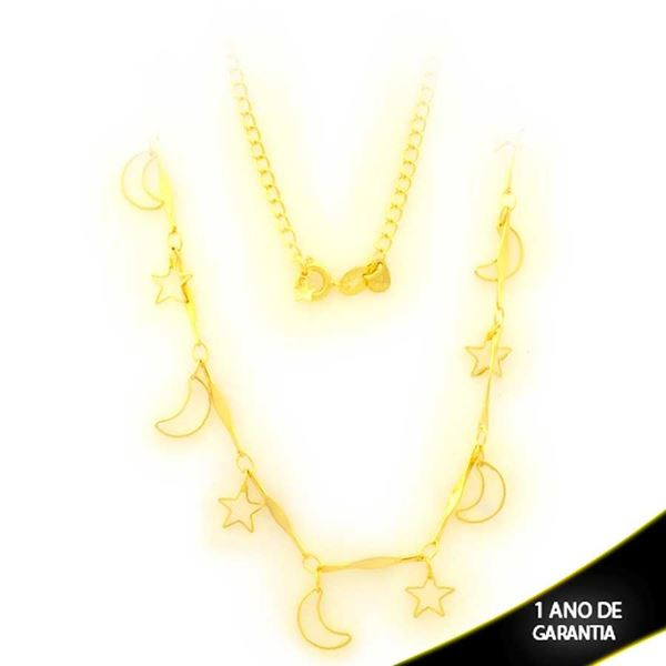 Imagem de Corrente Feminina Choker com Luas e Estrelas 38cm - 0403868
