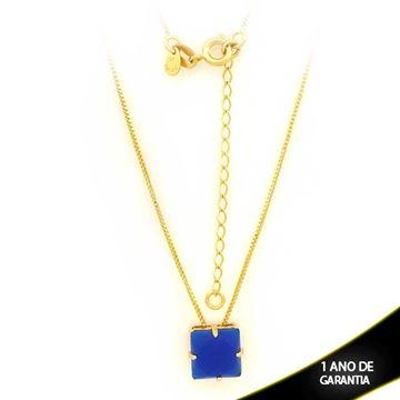 Imagem de Corrente Feminina Com Pedra Acrílica Azul Escuro 40cm Mais 5cm De Extensor - 0403129