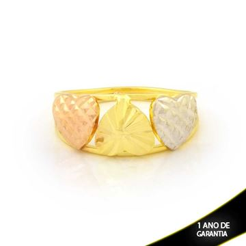 Imagem de Anel Três Corações Diamantados com Aplique de Ródio Rosê - 0104961
