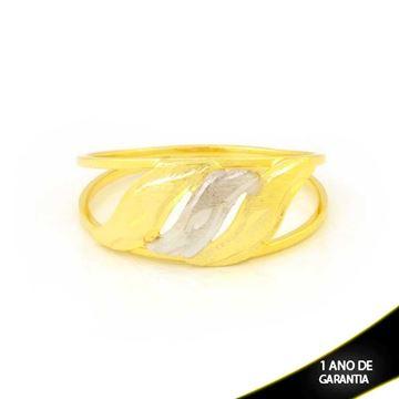 Imagem de Anel Três Ondas Fosco Diamantados com Aplique de Ródio - 0104967