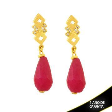 Imagem de Brinco Gota de Pedra Natural Pink e Zircônias - 0207682