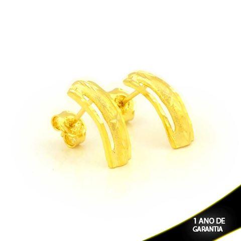 Imagem de Brinco Vazado Fosco e Diamantado - 0211679