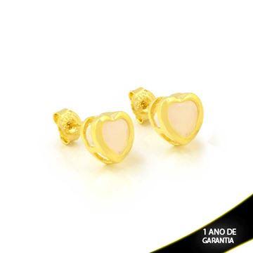 Imagem de Brinco Coração de Pedra Natural Rosa - 0208279