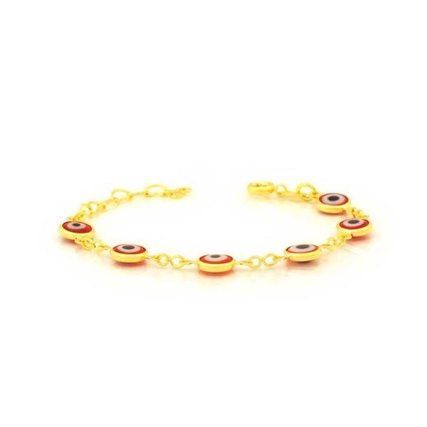 Imagem de Pulseira Infantil Olhos Gregos Vermelhos 7mm 11cm Mais 3cm de Extensor - 0504057