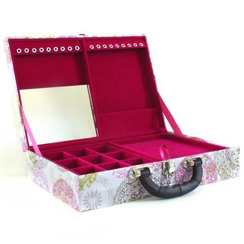 Imagem de Maleta Dupla Grande Mandalas Estampadas Roxo para Semi Joias (Pink) - 0800015