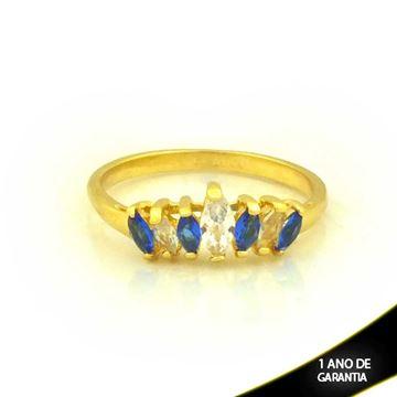 Imagem de Anel com Pedras de Zircônias Azul e Branco - 0104650