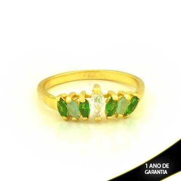 Imagem de Anel com Pedras de Zircônias Verde Claro e Escuro - 0104650