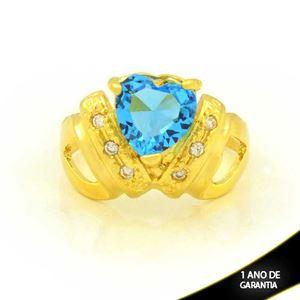 Imagem de Anel com Zircônias e Coração de Pedra Azul - 0105017