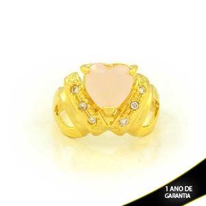 Imagem de Anel com Zircônias e Coração de Pedra Rosa - 0105017