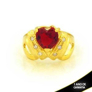 Imagem de Anel com Zircônias e Coração de Pedra Vermelha - 0105017