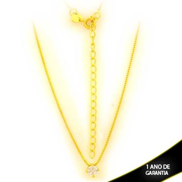 Imagem de Corrente Feminina com Ponto de Luz de Zircônia 40cm Mais 7cm de Extensor - 0403890
