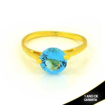 Imagem de Anel com Pedra de Zircônia Redonda Azul - 0104421