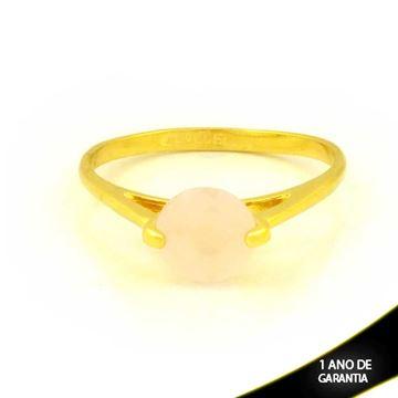 Imagem de Anel com Pedra de Zircônia Redonda Rosa - 0104421