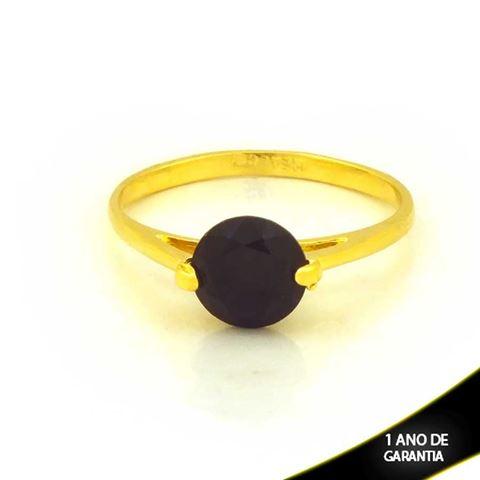 Imagem de Anel com Pedra de Zircônia Redonda Preta - 0104421