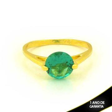 Imagem de Anel com Pedra de Zircônia Redonda Verde - 0104421