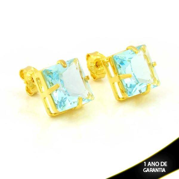 Imagem de Brinco Quadrado com Pedra Azul Claro - 0212564