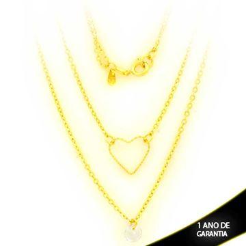 Imagem de Corrente Feminina Dupla Coração Diamantado e Zircônia 45cm - 0403897