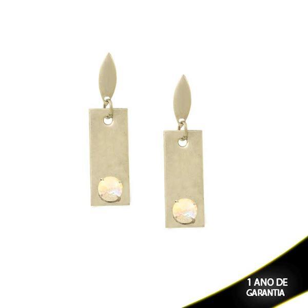 Imagem de Brinco Aço Inox Com Pedra De Cristal Furta-Cor - 0200291