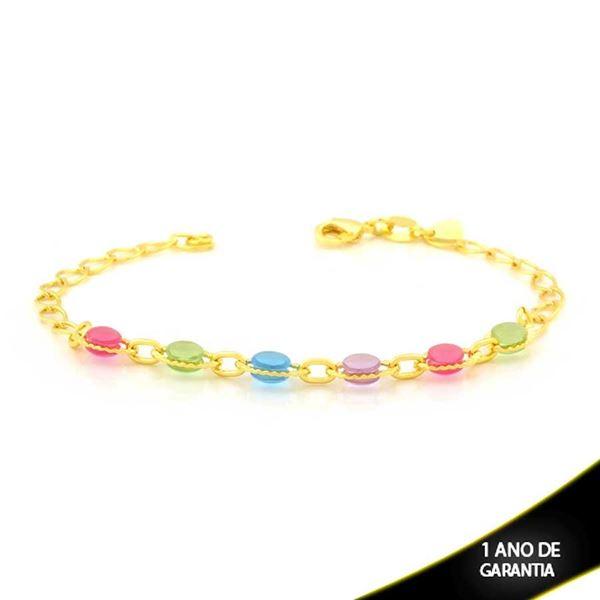 Imagem de Pulseira Feminina com Pedras Coloridas Claras 18cm - 0504061