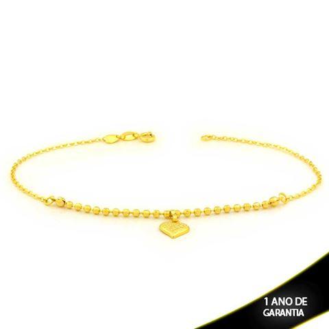 Imagem de Tornozeleira de Bolinhas Diamantadas com Coração Trabalhado 25cm - 0600728