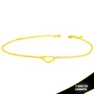 Imagem de Tornozeleira Strass com Coração Vazado Diamantado 21cm Mais 5,5cm de Extensor - 0600726