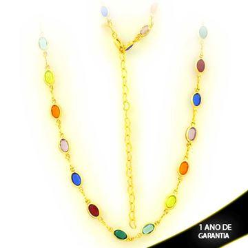 Imagem de Corrente Feminina Choker de Pedras Ovais Coloridas 30cm Mais 8cm de Extensor - 0403910
