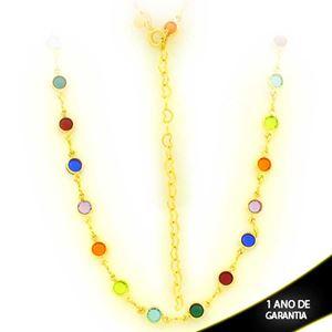 Imagem de Corrente Feminina Choker de Pedras Redondas Coloridas 30cm Mais 8cm de Extensor - 0403911