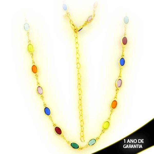 Imagem de Corrente Feminina Choker de Pedras Ovais Coloridas 38cm Mais 5cm de Extensor - 0403914