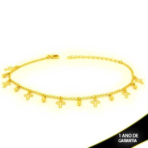 Imagem de Tornozeleira de Cruzes e Gota Dourada 21cm Mais 4,5cm de Extensor - 0600705