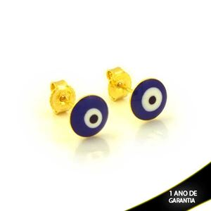 Imagem de Brinco Redondo de Olho Grego Azul Escuro - 0212421