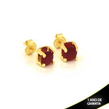 Imagem de Brinco com Pedra de Zircônia Vermelha - 0210276